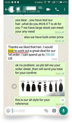 Customer's Review in WhatsApp